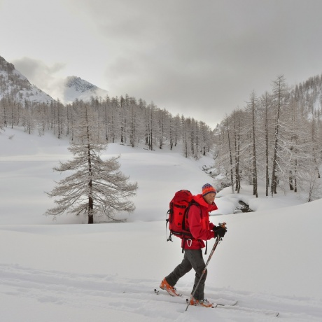 Visit age old chalets while ski touring